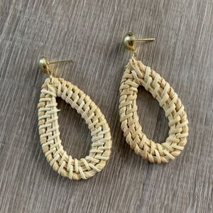 NWT WICKER / RATTAN EARRINGS - Teardrop